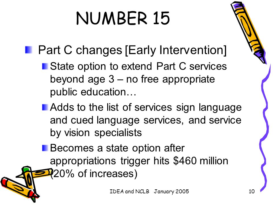 NUMBER 15 Part C changes [Early Intervention]